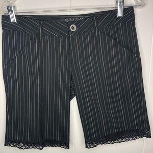 Guess Jeans black pinstripe Bermuda shorts. Size26